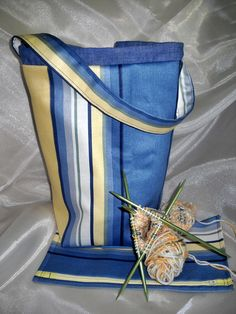 Knitting bag, sock knitters bag, zipper notions pouch - maze and blue stripe cotton
