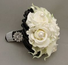 diamond prom bouquets | Reserved - Custom Prom Nosegay Bouquet Callas Roses Jewels ...  I like the way it's wrapped!