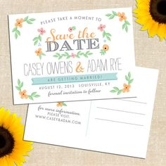 DIY PRINTABLE Whimsy Save the Date Postcard