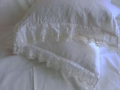 Linen pillowcase  with ruffles french lace by LinenWoolRainbow