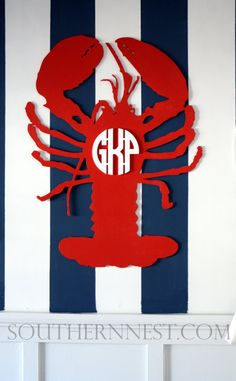 Monogrammed Preppy Lobster: The Monogrammed Lobster-Preppy, Design Copyright-Available in Script and Block Letters on Etsy, $95.00