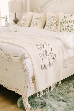 Let's Stay in Bed neutral blanket by Parris Chic Boutique. Blankets and pillows available at Parris Chic Boutique. LOVE that blanket and bed frame. Dream Bedroom, Home Bedroom, Master Bedroom, Bedroom Decor, Decor Room, Master Suite, Bedroom Furniture, Bedroom Ideas, Room Decor For Teen Girls