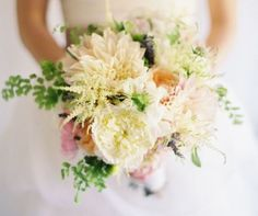 I don't know why I love this bouquet.  I think it's the use of Astilbe, which gives it this extra...pizzaz.   Floral and Bouquet Inspiration from http://bouquet-bouquet.com  Flowers: Astilbe, Dahlia, English Rose, Peony.