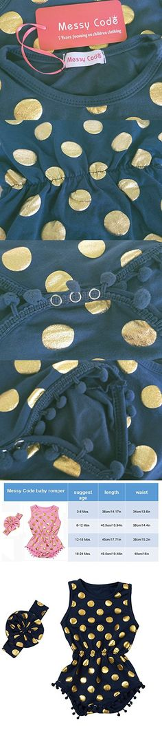 8b086c620af6 Messy Code Baby Romper Onesies Girls Clothes Gold Dot Jumpsuits Headband  Outfit Sleeveless Boutique