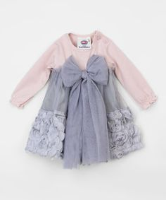 Loving this Vintage Rose & Gray Rosette Bow Dress - Infant on #zulily! #zulilyfinds