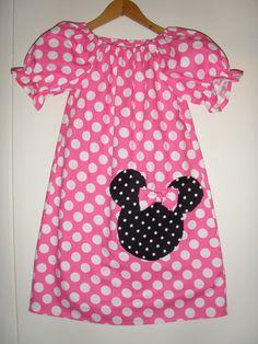 Minnie's dress Pink polka dots peasant dress  by minnieschild, $23.99