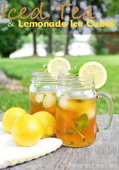 Iced tea and lemonade ice cubes made with mint leaves