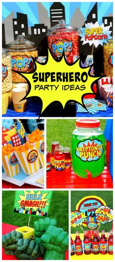 An amazing superhero boy birthday party with fun party decorations and treats! See more party planning ideas at CatchMyParty.com!