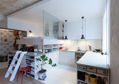 Swedish architect Karin Matz renovated the interior of HB6B - One Home in Heleneborgsgatan, Stockholm