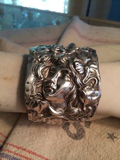 Repurposed art nouveau sterling silver repousse by RosyPosyPins, $245.00
