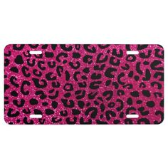 Neon hot pink cheetah print license plate: Hot cheetah gift ideas. Modern and chic neon hot pink cheetah print animal pattern with beautiful spots. Ideal gifts for birthdays, weddings, and special occasions for women.#girly #pink #sparkly #hotpink #cheetahprint #licenseplate
