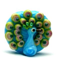 Made to order Margo lampwork beads peacock by margolampwork, 20usd