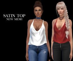 Lana CC Finds - Satin Top by Leosims