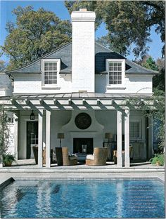 Maybe pool off back of house like this with outdoor living/dining space and outdoor fireplace. Outdoor Living Rooms, Outside Living, Outdoor Spaces, Outdoor Seating, Living Spaces, Outdoor Patios, Outdoor Pergola, Pergola Lighting, Outdoor Kitchens
