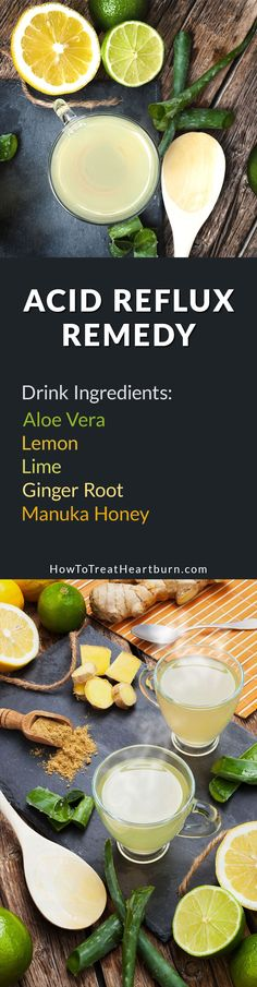 Check out this drink recipe. Aloe vera, lemon, lime, ginger root, and manuka honey can be combined into a healthy drink for the relief of heartburn from acid reflux. What Causes Acid Reflux, Acid Reflux Relief, Stop Acid Reflux, Acid Reflux Remedies, Heartburn Symptoms, Home Remedies For Heartburn, Reflux Symptoms, Healthy Drinks, Healthy Eating