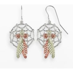 Black Hills Gold Tri-Tone Dreamcatcher Drop Earrings in Sterling... ($275) ❤ liked on Polyvore featuring jewelry, earrings, grey, womens jewellery, drop earrings, grey pearl earrings, fish hook earrings and sterling silver feather earrings