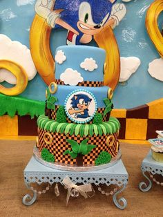 Sonic the Hedgehog Birthday Party cake!  See more party planning ideas at CatchMyParty.com!
