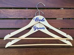 Bride and Groom Vinyl Wedding Dress Hanger Set, Wood Hanger, Wedding Gift, Wedding Photo Prop, Bridal Shower Gift Idea, Bride Hanger, Groom