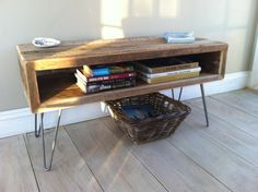 Industrial wood & steel TV/media stand or coffee table, reclaimed barnwood with hairpin legs