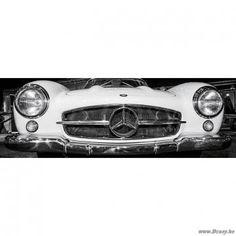 PR Interiors Glass Art glaskader 120 witte Mercedes oldtimer glaspaneel Auto Rooster Wit