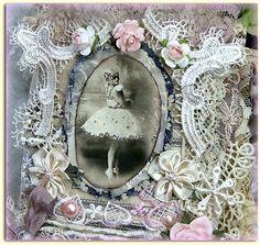 KhatsArt-Vintage-Shabby-Chic-Fabric-Premade-Scrapbook-Albums-Ballerina-Clothes-2