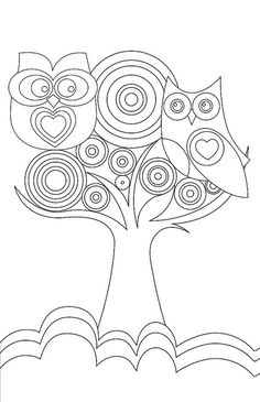 Owl Love free printable coloring pages Owl Coloring Pages, Printable Coloring Pages, Coloring Sheets, Coloring Books, Free Coloring, Zentangle, Digi Stamps, Bunt, Embroidery Patterns