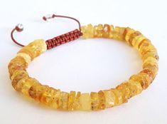 Natural raw amber bracelet lemon cognac amber от AmberJewelryStore