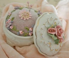 Shabby chic pin cushion inside a glass roses container <3 Shabby Chic Cottage Pink Roses