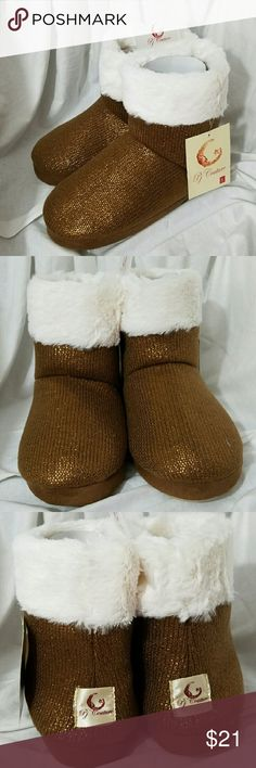 PJ Couture *nwt* Large 9-10 Copper Brown Slippers Brand: PJ Couture  Item: *Copper Brown Metallic Slipper Booties House Shoes with White Ring of Fur Along Top *Size Large - 9 9.5 10 *100% Acrylic *NWT & Packaging  *no trades, offers via offer button only* PJ Couture Shoes Slippers