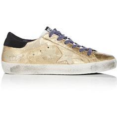 Golden Goose Women's Women's Superstar Metallic Leather Sneakers ($515) ❤ liked on Polyvore featuring shoes, sneakers, polka dot sneakers, wedges shoes, leather sneakers, metallic sneakers and low profile sneakers