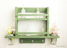 Two Tier Spice Rack with 3 hooks and 2 Mason Jar by TwigsDecor, $86.00
