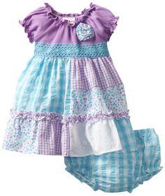 Youngland Baby-girls Infant Seersucker Patchwork Dress, Purple/Turquoise, 24 Months