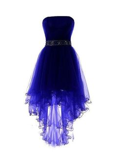 Royal Blue Tulle High Low Scoop Homecoming Dresses, Blue Party Dress,High Low Formal Dress #Beautiful