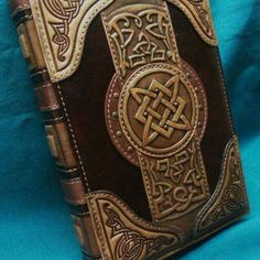 Leather notebook cover Book Of Magic, leather magic cover book, leather embossed notebook cover personalised leather journal covers Leather Carving, Leather Art, Leather Books, Leather Tooling, Custom Leather, Handmade Leather, Leather Jewelry, Leather Book Covers, Leather Cover