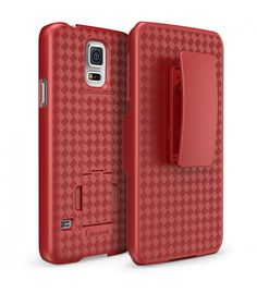 Transformer Slim Hard Shell Case Holster Combo with Kickstand and Locking Belt Swivel Clip for Samsung Galaxy S5-Red