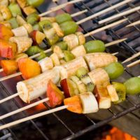 Grilled Fruit Kabobs Glazed with Punchy Cumin and Maple Glaze