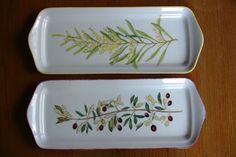 plat décor mimosa et branche d'olivier