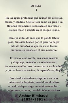 Poema Ofelia, Parte I de Rimbaud. Composición de imagen por Milza López.