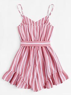 Plus Self Tie Waist Striped Cami Romper Cute Summer Outfits, Cute Casual Outfits, Outfits For Teens, Girl Outfits, Girls Fashion Clothes, Girl Fashion, Fashion Outfits, Plus Size Jumpsuit, Cute Rompers