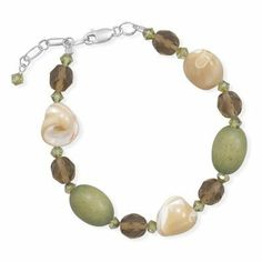 Adjustable Beaded Bracelet with Shell, Brown Glass, and Green Wood Sterling Silver Made in the USA AzureBella Jewelry. $25.27. Made in the USA. Jewelry gift box included. .925 sterling silver