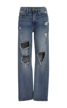 Frame Denim's 'Le High' jeans are cut from denim and woven with stretch for a figure-sculpting fit. Detailed with cool split cuffs, this pair sits high on your waist and has a classic five pocket construction. Wear yours on off-duty days.