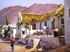 Wupperthal Afternoon Ted Hoefsloot - die heel eerste skildery wat ek eendag koop, sal 'n Hoefsloot wees. South African Artists, Art Portfolio, National Parks, Art Gallery, City Scapes, Outdoor Structures, Patio, Fine Art, Landscape