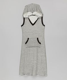 Look at this Monteau Girl Black & White Hooded Maxi Dress on #zulily today!