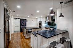 Counter Seating and Chalkboard Door Slate Kitchen, Remainders, Kitchen Chalkboard, Cabinet Makers, Custom Cabinets, Kitchen Utensils, Mudroom, Custom Homes, Counter
