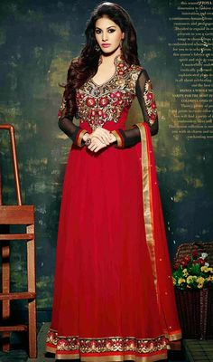 Create an ambiance of fashion and grace with this red embroidered georgette and chiffon floor length Anarkali dress. This attire is beautifully adorned with lace, resham and stones work.  #RedAntiqueStyleAnarkaliDesign