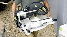 When looking for a good miter saw, you can never go wrong with the Festool Kapex KS 120 sliding compound miter saw. This saw provides with an accurate way of cutting lumber effortlessly. Sliding Compound Miter Saw, Compound Mitre Saw, Festool Kapex Ks 120, Dust Collection, Tool Box, Tools Tools, Woodworking, Shop, Dopp Kit