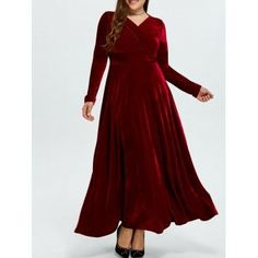 SHARE & Get it FREE | Plus Size Long Sleeve Velvet Maxi Formal Swing DressFor Fashion Lovers only:80,000+ Items·FREE SHIPPING Join Dresslily: Get YOUR $50 NOW!