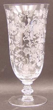 """Rambling Rose"" glass pattern with etched flowers & damask flourishes from Tiffin. This is one of my favorites. Etched Glassware, Antique Glassware, Fostoria Glass, Fenton Glass, Cut Glass, Glass Art, Crystal Glassware, Glass Dishes, Carnival Glass"