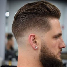 Low Bald Fade with Slicked Back Hair and Beard - Low Fade Haircuts For Men: Cool Low Taper Fade Hairstyles Top Fade Haircut, Types Of Fade Haircut, Haircut For Square Face, Beard Haircut, Hair Men Style, Hair And Beard Styles, Short Hair Styles, Side Hairstyles, Undercut Hairstyles