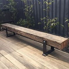 One of our bench seats looking good in its new home. These timbers were originally installed as a wharf in 1925 in Melbourne. One of our bench seats looking good in its new home. These timbers were originally installed as a wharf in 1925 in Melbourne. Rustic Furniture, Garden Furniture, Outdoor Furniture, Tv Furniture, Furniture Removal, Furniture Online, Industrial Furniture, Furniture Making, Reuse Furniture